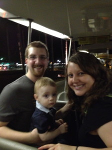 A nice couple took this pic of us on the tram back to the parking lot one night.