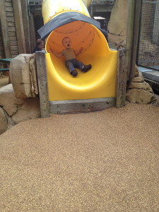 Love this face. Pure joy while coming down this slide.