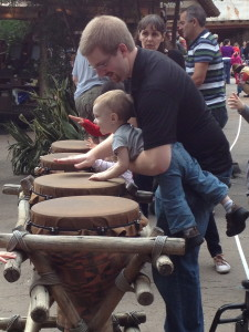 Playing the drums in Africa at Animal Kingdom.