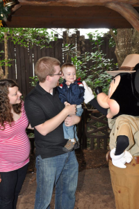 Our Disney Photo Pass pic when C met Mickey Mouse for the first time. He was so excited!