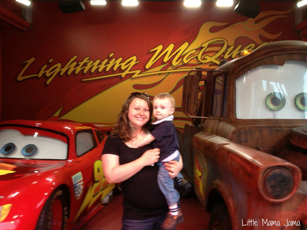 Meeting Lightning McQueen and Tow Mater at Disney's Hollywood Studios.