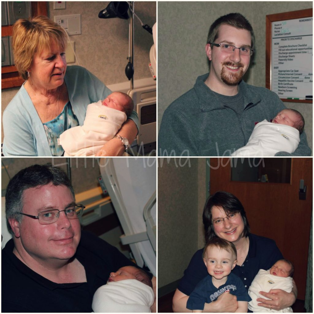 She was able to meet three of her four grandparents on her first day of life!