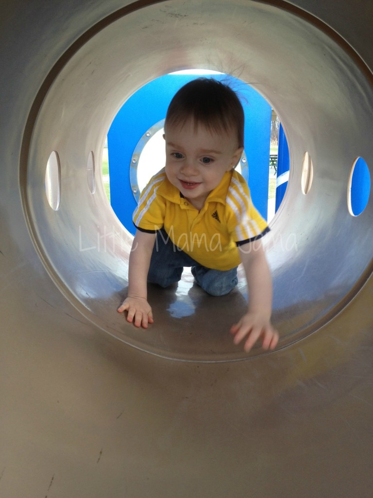 He loved crawling through this tunnel toward Dada.