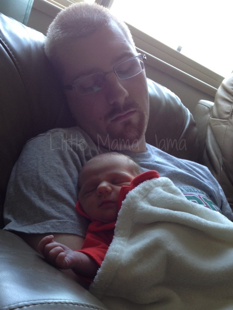 Sleepy dad and daughter.