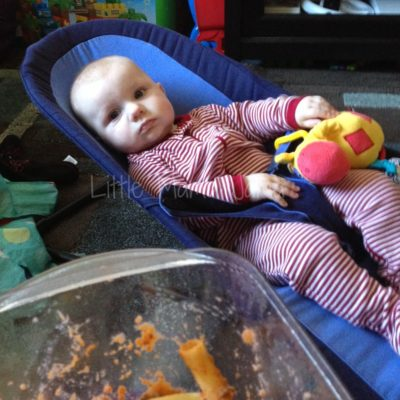 (Kinda) Wordless Wednesday: Baby Jo's First Taste of Rice Cereal!