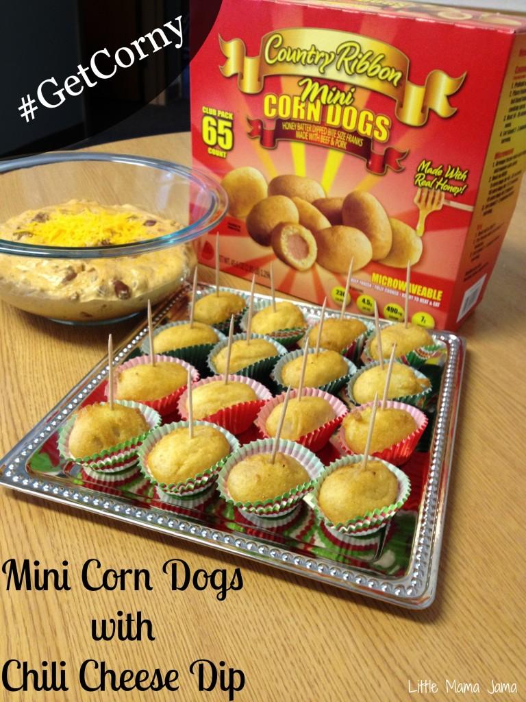 #ad Mini Corn Dogs with Chili Cheese Dip #GetCorny