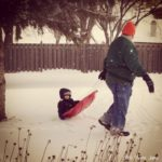 (Kinda) Wordless Wednesday: Sledding with Papa