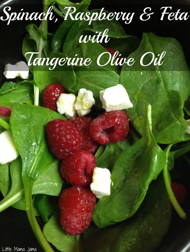 Spinach Raspberry Feta with Tangerine Olive Oil #saladswap #momsmeet