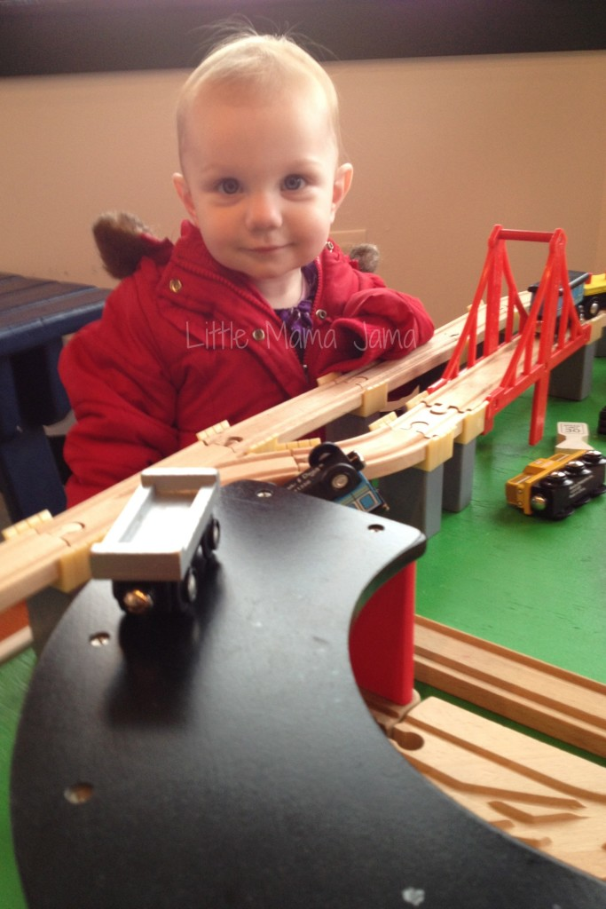 Baby Jo Playing with Train Table at National Railroad Museum Great Bunny Train