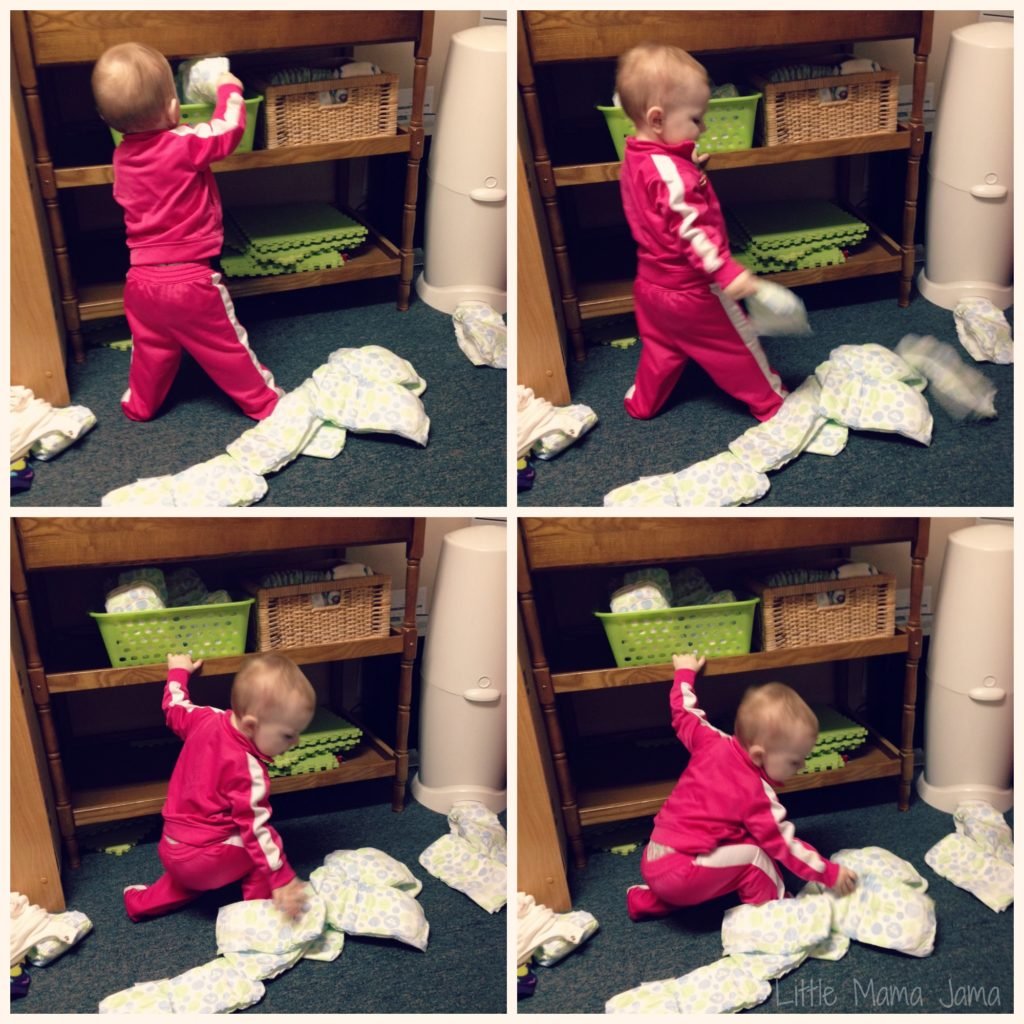 Baby Jo mischievously empties out diapers