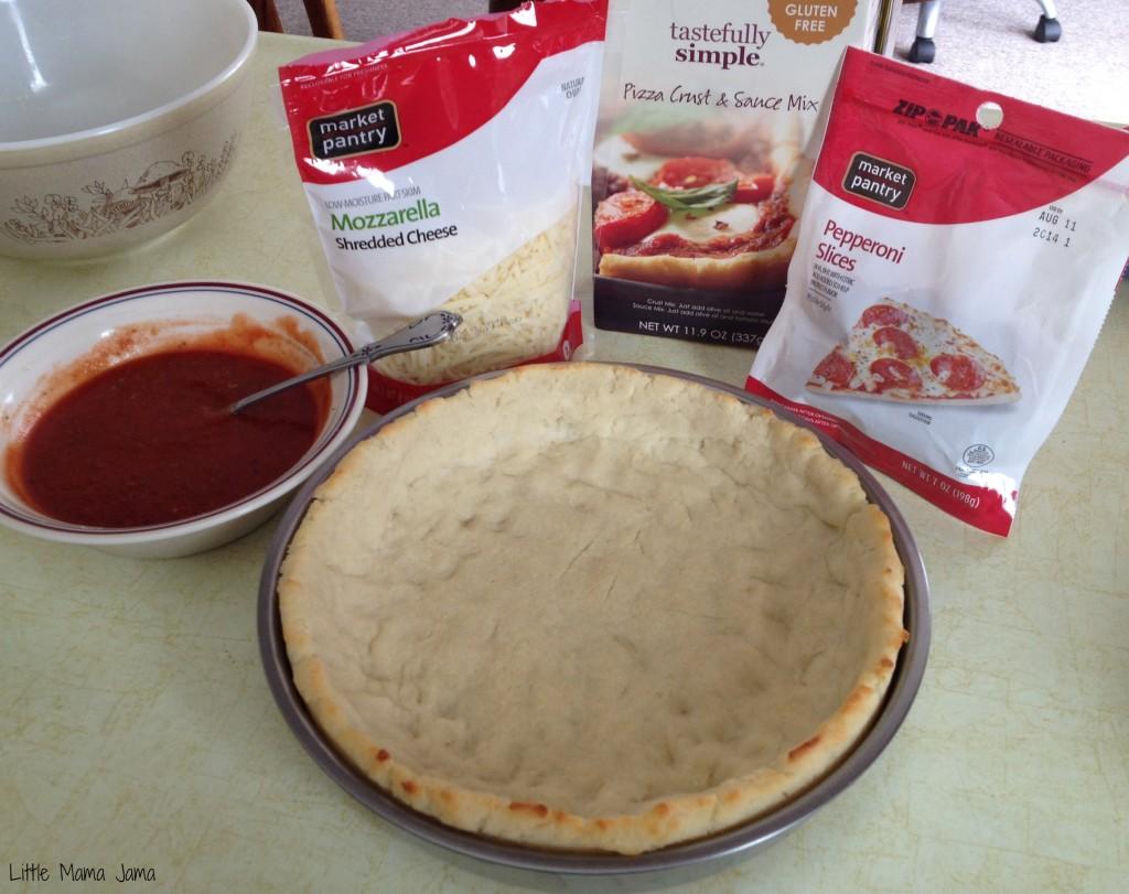 Pepperoni Deep Dish Pizza ingredients #TastefullySimple #LittleMamaJama