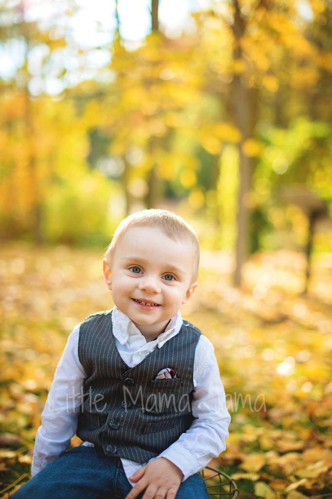 Toddler in vest for 2.5 year photos