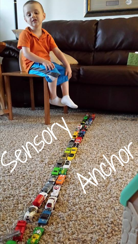 Lining up toys as a sensory anchor #toddler #spd