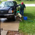 (Kinda) Wordless Wednesday: Washing Papa's Truck