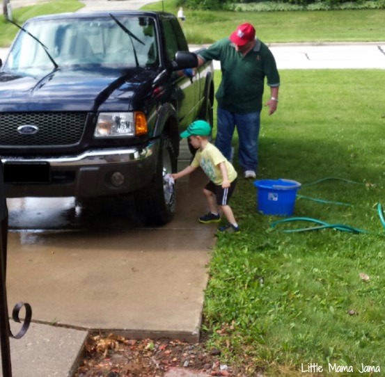 Washing the truck with Papa