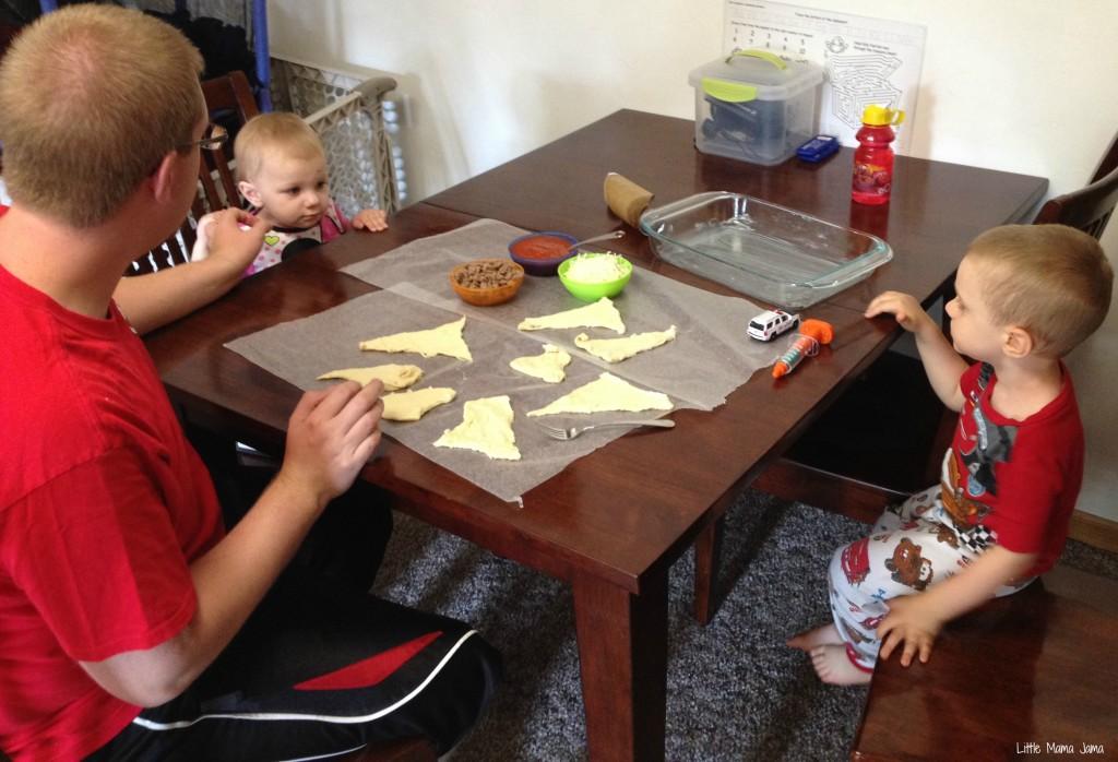 Assembling Mini Sausage Calzones #FamilyFavorites #shop #cbias