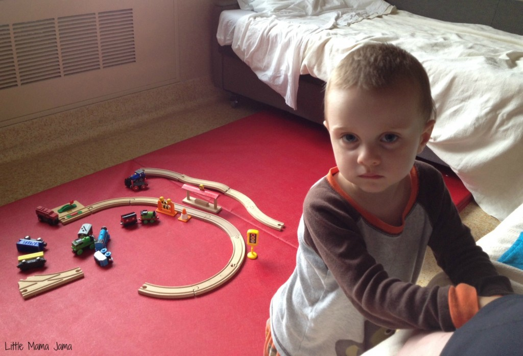 Playing with train tracks in hospital