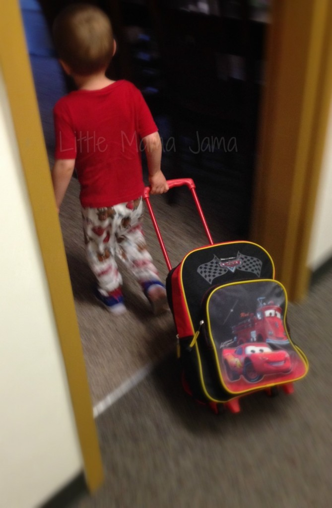 Toddler with Cars suitcase