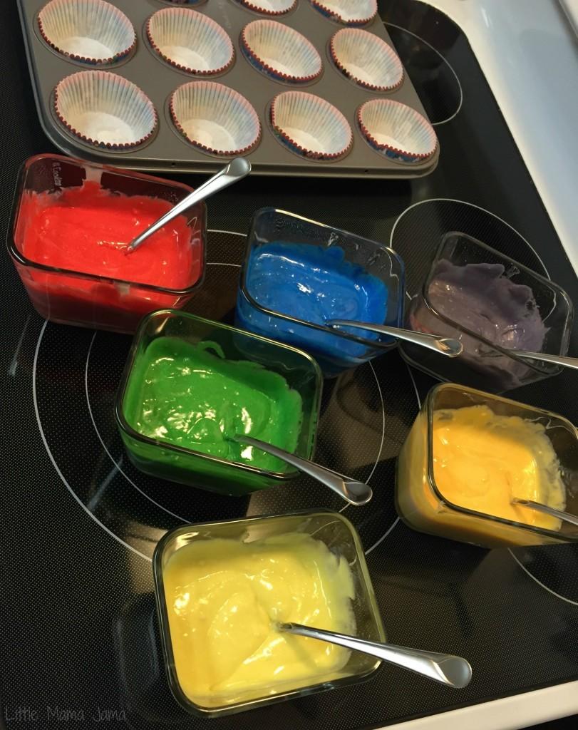 Mixing Tie Dye Cupcakes #DisneySide #ad