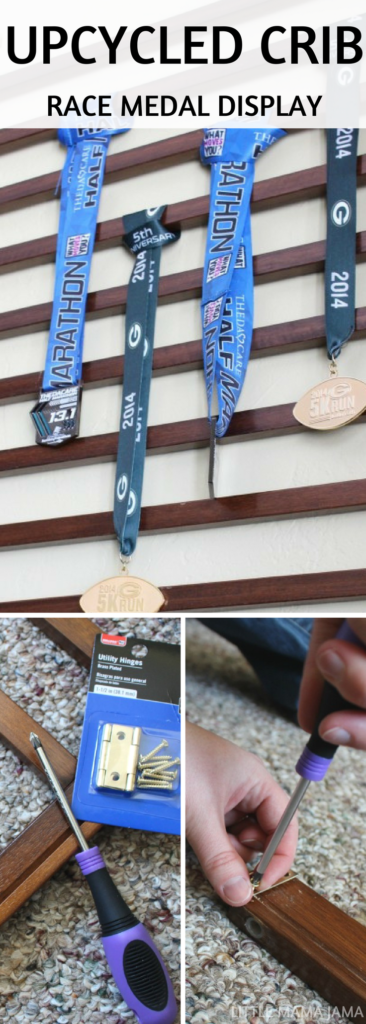 How to create an upcycled crib race medal display. Use this tutorial to easily upcycle a crib into a display for your race medals! #ad