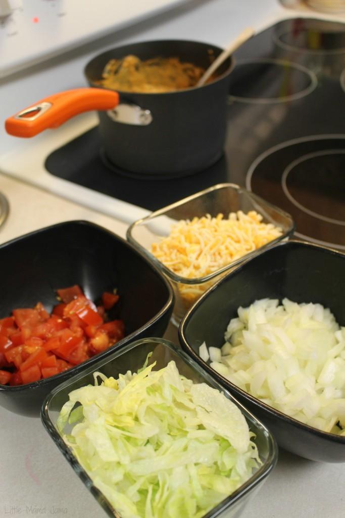 5-layer chili cheese dip prep