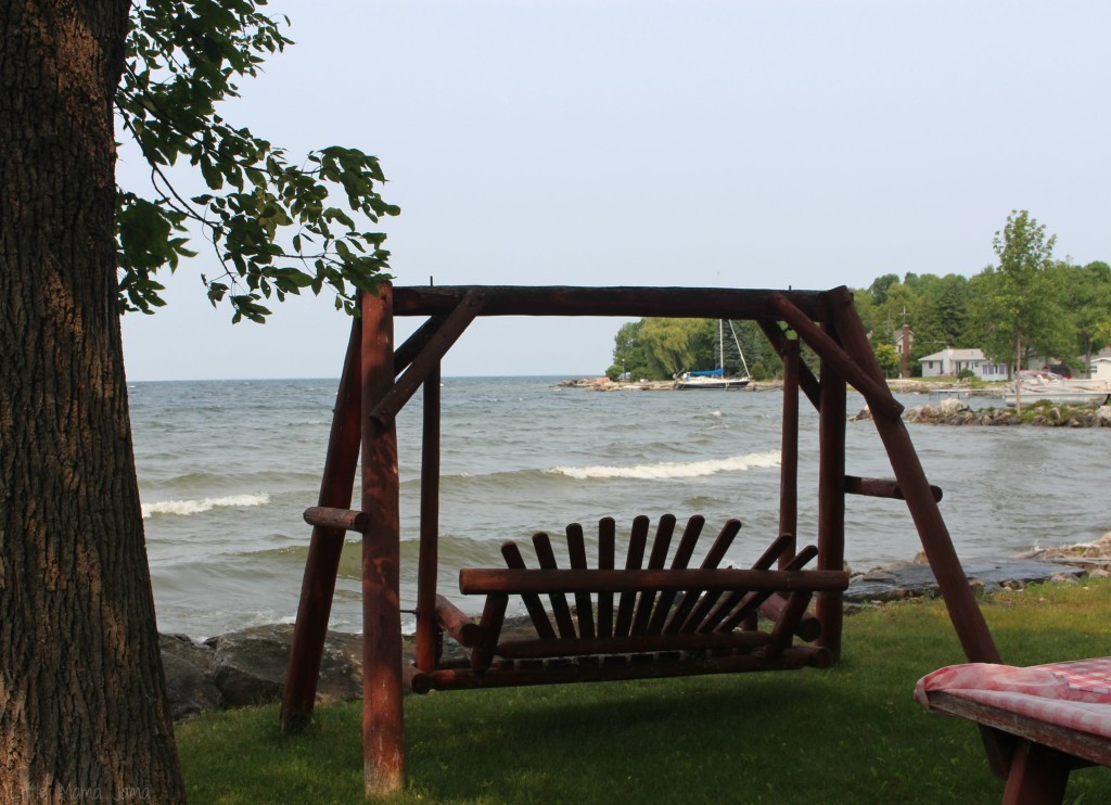 Swing overlooking the bay in Door County