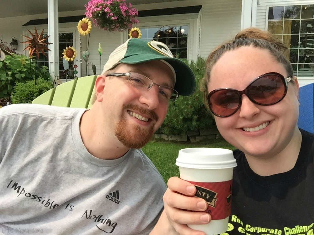Enjoying coffee at Door County Coffee and Tea Co