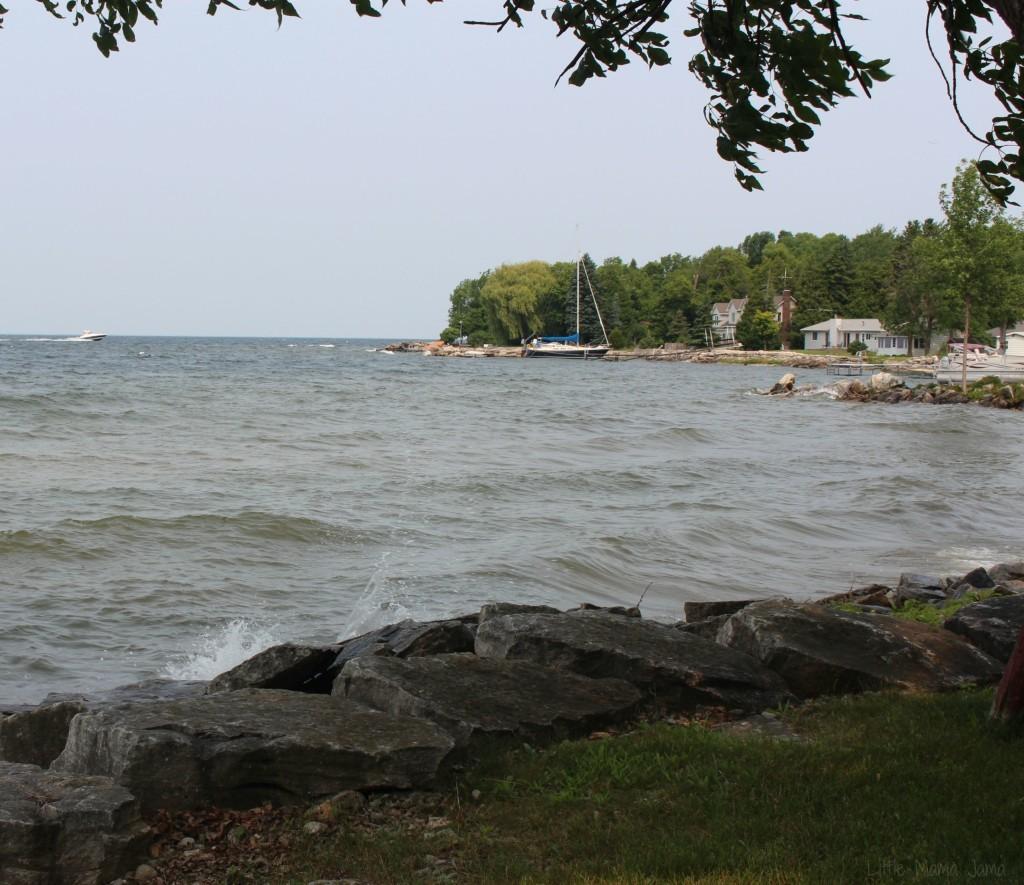 Waves crash against the shore in Door County