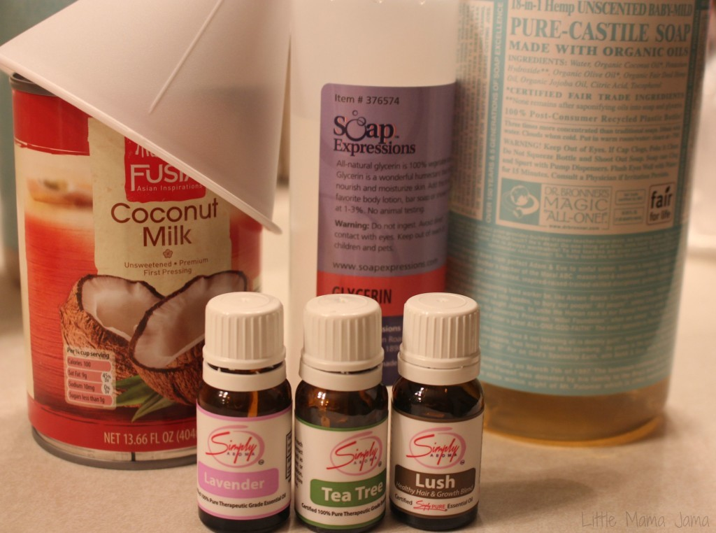Ingredients for Homemade Healthy Scalp Shampoo