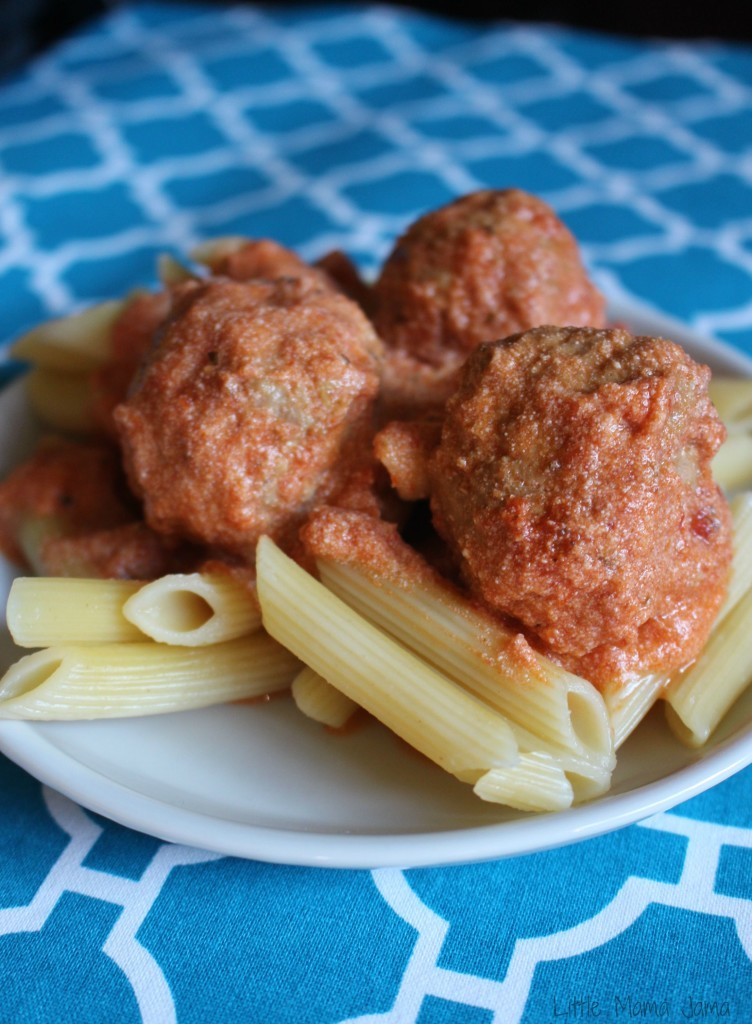 Italian Turkey Meatballs and Creamy Spaghetti