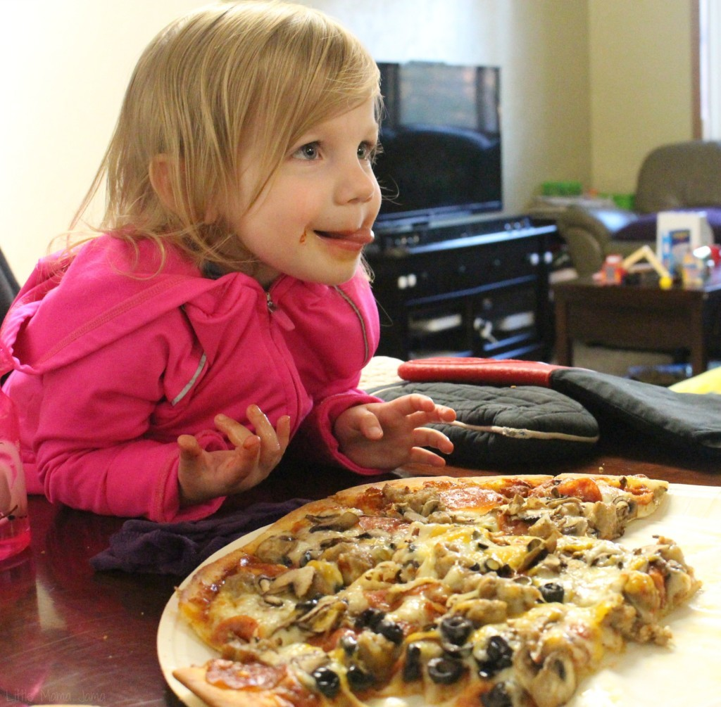 Baby Jo steals toppings off the Papa Murphy's pizza #SpiceYourSlice #ad