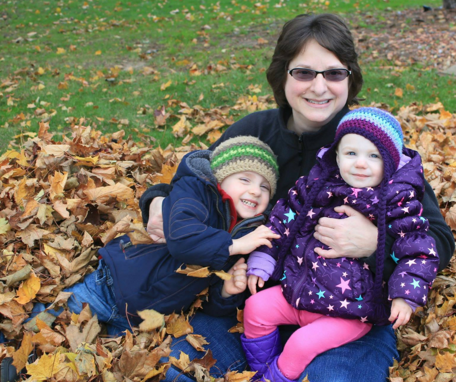 My mom and kids playing in the leaves during fall. We put together a comforting gift basket for her after her surgery.