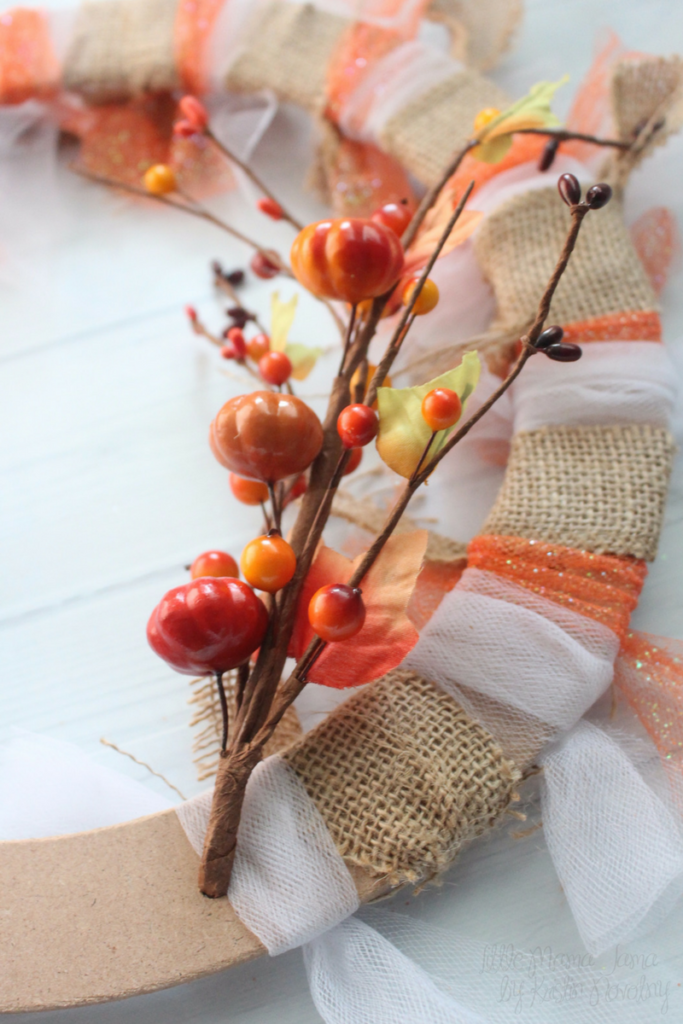 Add a flourish to your Burlap and Tulle Fall Wreath