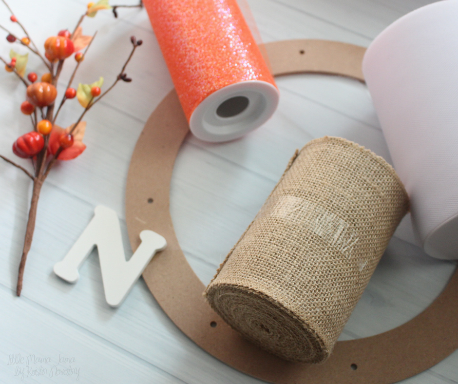 Here are the materials you will need to make your own Burlap and Tulle Fall Wreath!