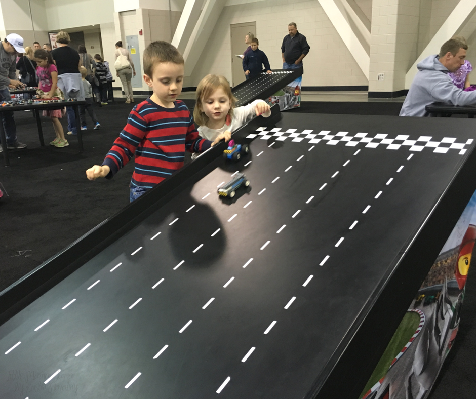 Kids race LEGO cars