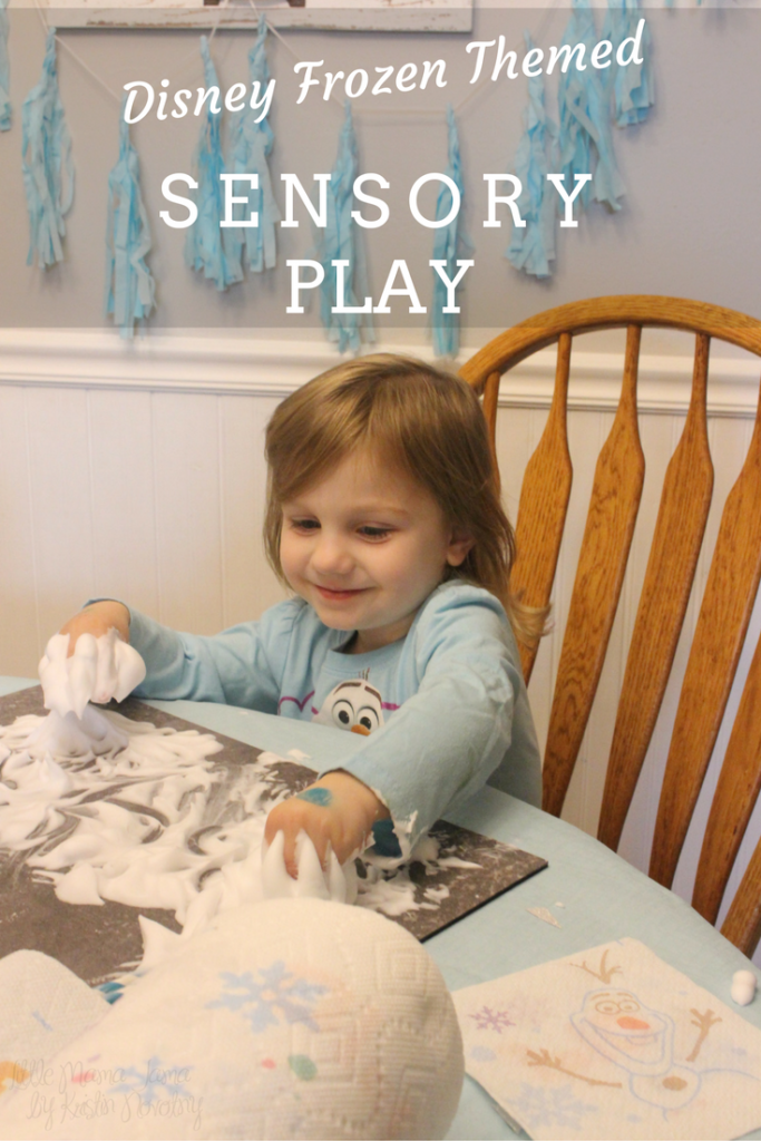 Disney Frozen Sensory Play with easy clean up from Bounty Prints Featuring Disney Frozen #QuickerPickerUpper #DisneyFrozen #AD