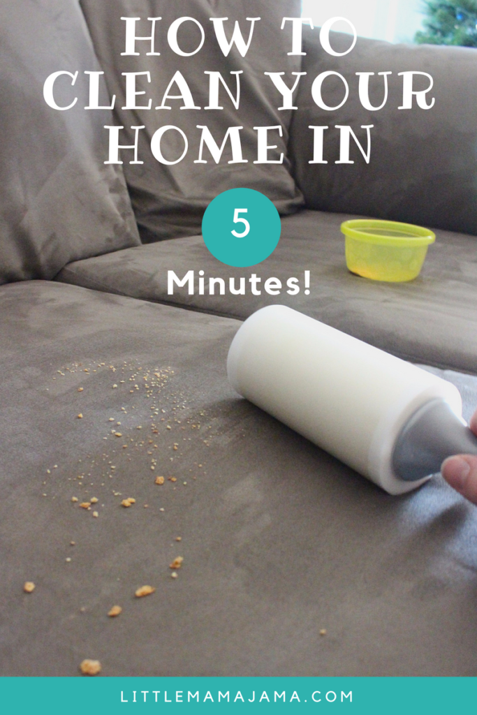 How to clean your home in 5 minutes with these easy cleaning tips and tricks! #RollAwayLint #ad
