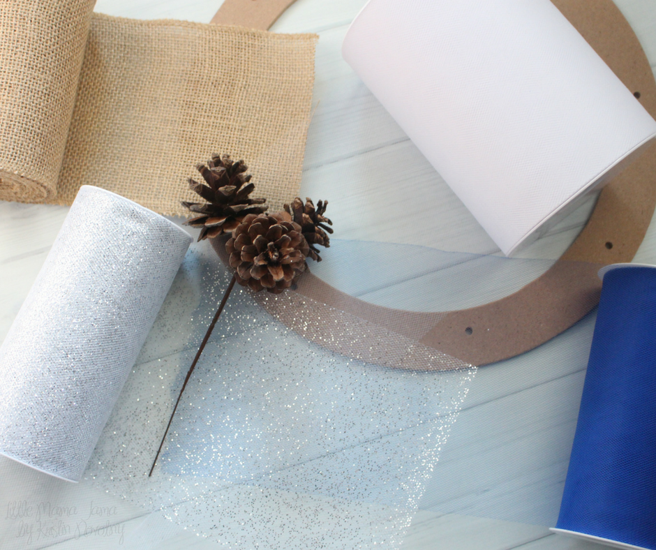 Here are the materials you will need to make an easy Burlap and Tulle Winter Wreath!