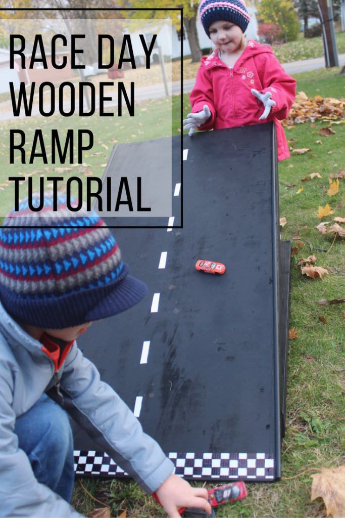 DIY Race Day Wooden Ramp Tutorial for kids who love cars #RaceDayRelief #ad