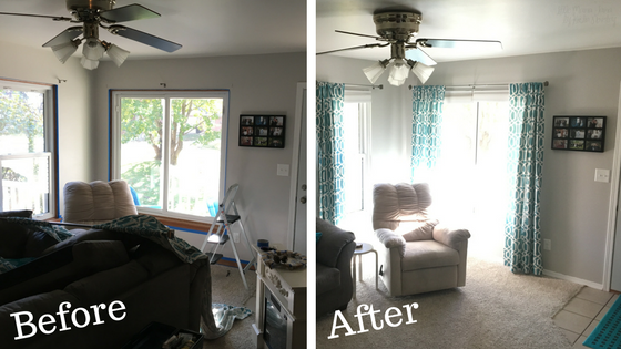 Refinish trim from wood to white to brighten up the space in your home! #EnjoyTheGo #ad