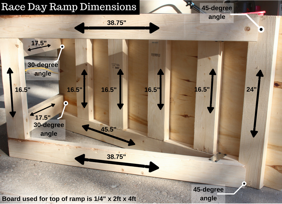 Dimensions for building a wooden ramp for kids to race their cars! #RaceDayRelief #ad