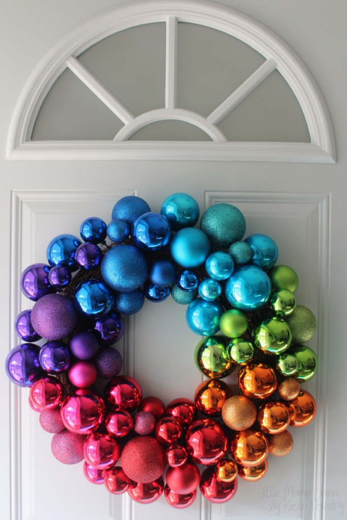Bright holiday decor with a rainbow wreath