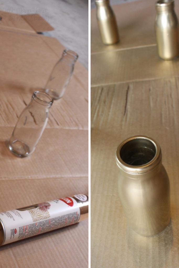 Spray paint glass milk bottles for DIY rustic vases