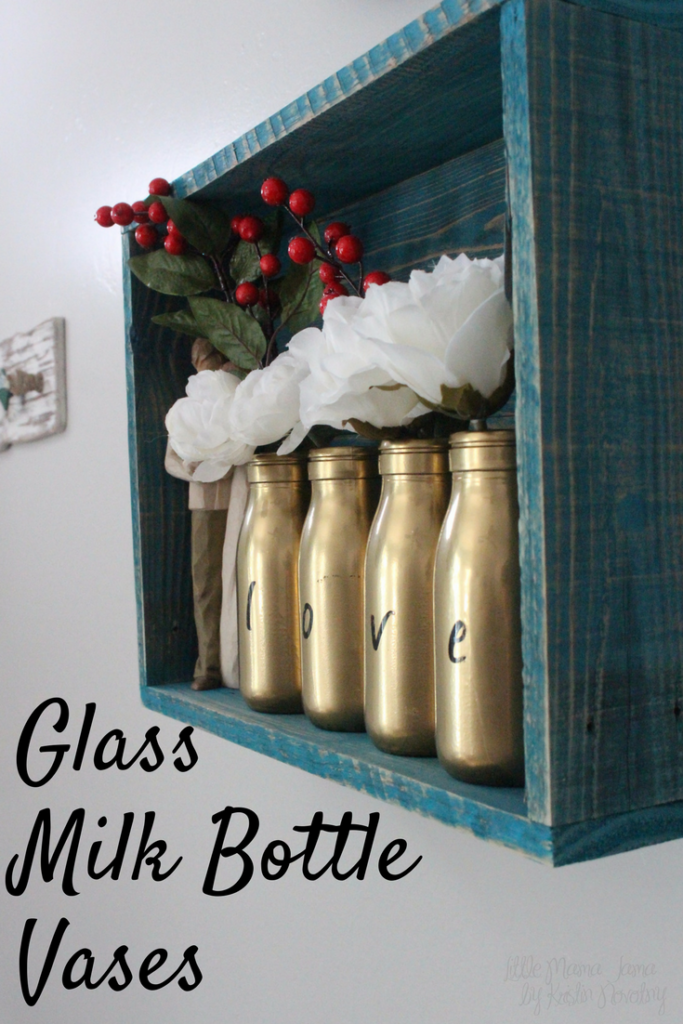 Easy DIY glass milk bottle vases for personalized rustic home decor.