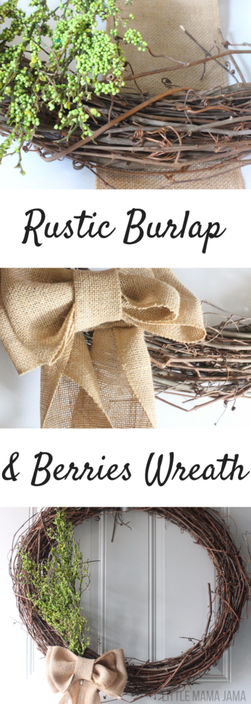 This rustic burlap & berries wreath is an easy DIY and perfect for St. Patrick's Day decor!