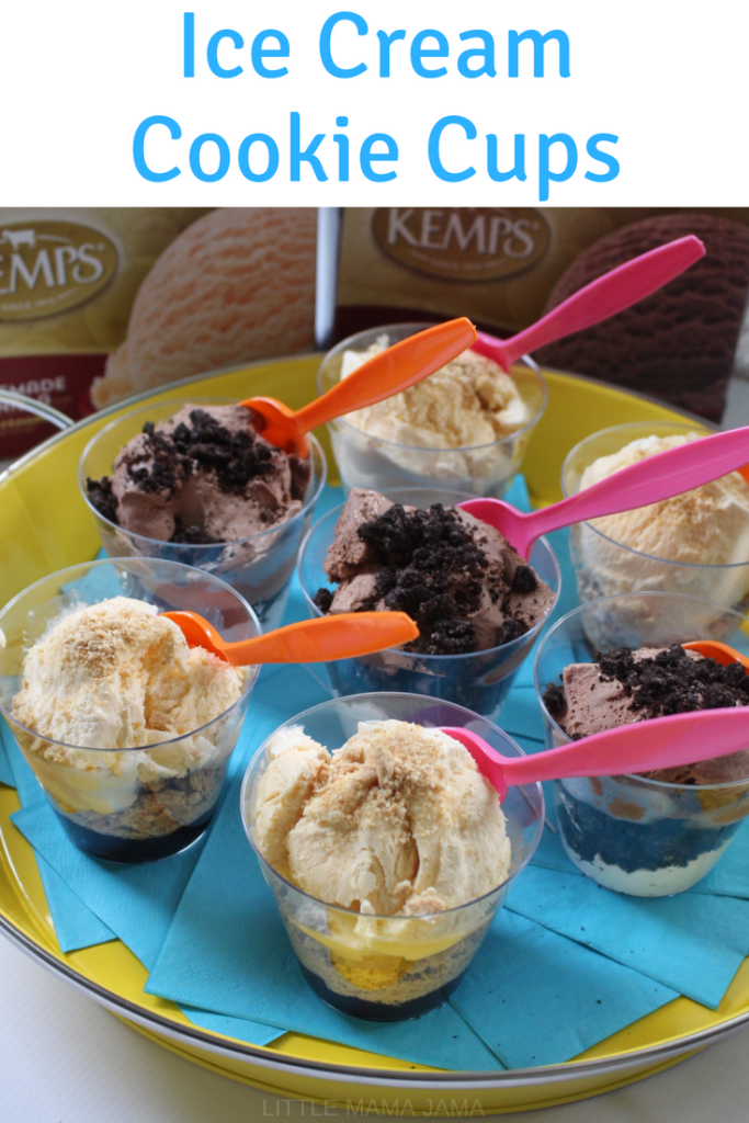 Serve summer fun with these Ice Cream Cookie Cups! Chocolate Cookies and Creme ice cream cup and Vanilla S'mores ice cream cup. #KempsLocallyCrafted #ad