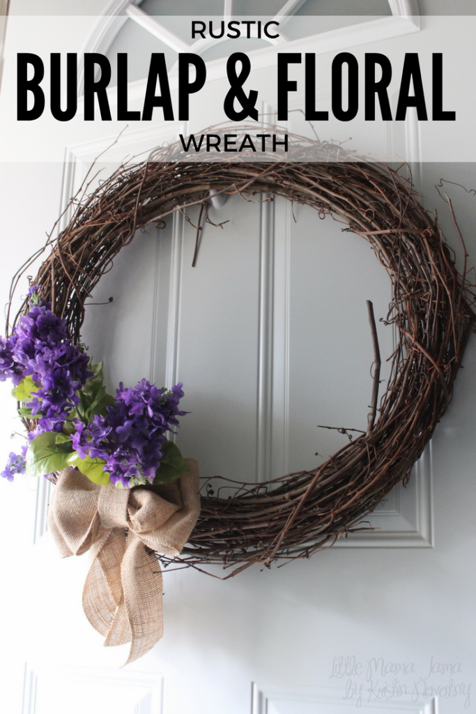 Brighten your front door for spring! Here's a tutorial for a rustic burlap and floral wreath.