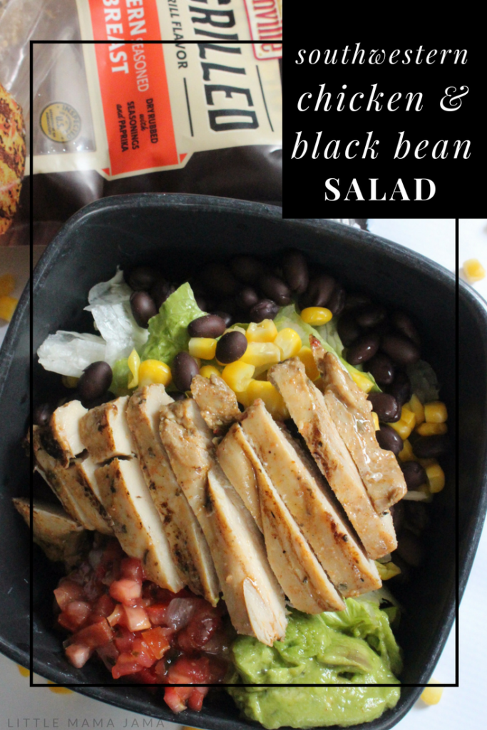 This Southwestern Chicken & Black Bean Salad is a quick meal for an easy lunch or dinner! #ad