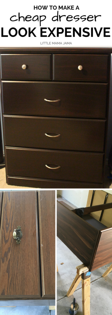 Here's how to make a cheap dresser look expensive. Upcycle an old dresser with stain and new hardware!