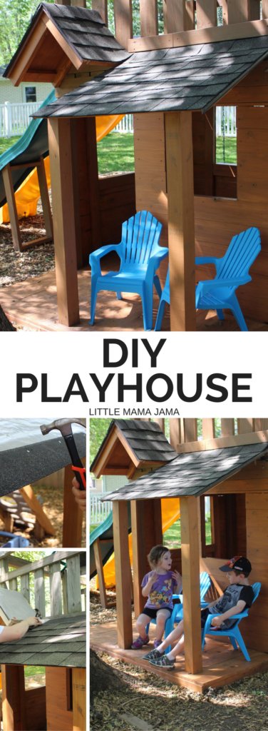 Build your kids the playhouse you always wanted! It's possible to do this playhouse DIY in just two weekends. #RoofedItMyself #ad